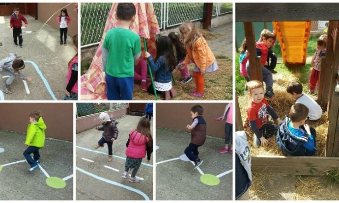 Ribice i Leptirići - boravak na zraku (građenje šatora od slame, igra na školskom igralištu, simbolička igra, preskakanje užeta, spuštanje niz tobogan, igra Skakavca i Školice...)