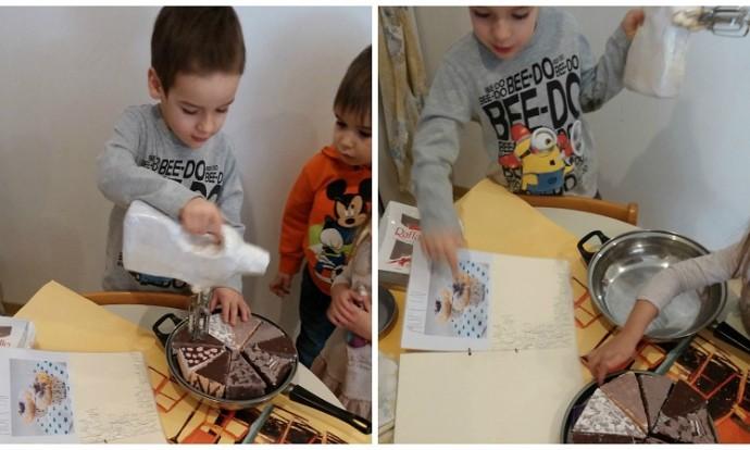 Leptirići i Ribice - imitativna igra u centru kuhinje - poticaji kolači, torte, i recepti izrađeni u suradnji djece i odgojitelja proizašli iz razgovora o izradi kolača i sastojcima