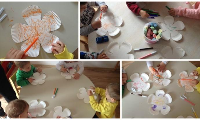 Zečići - izrada cvijetova, tehnika pastela, flomaster i kreda u boji