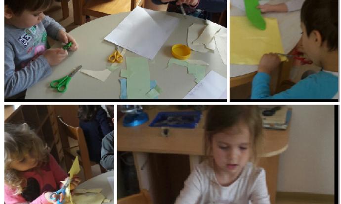 Leptirići - Moja obitelj - rezanje i ljepljenje kolaža na papir