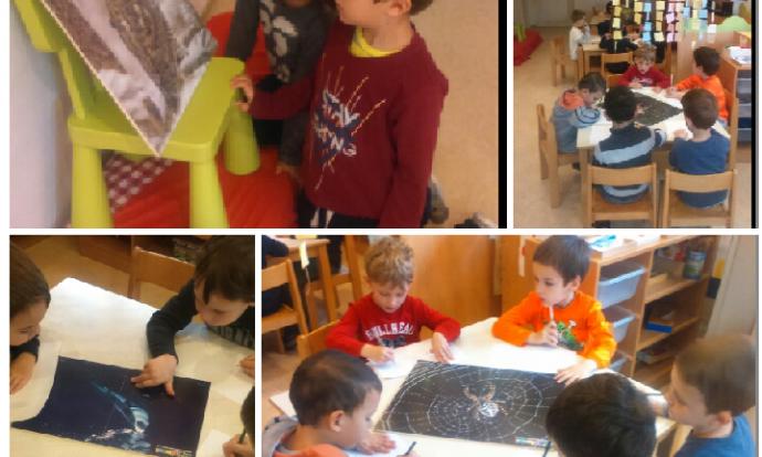 Ribice - tema - životinje, tehnika - drvena olovka, aktivnost na poticaj jednog dječaka