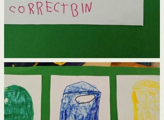 Ribice - Dan planeta Zemlje, učenje novih pojmova na engleskom kroz razgovor , fotografije i crteže (recycle bin, put the trash...), razvoj početnog čitanja i pisanja