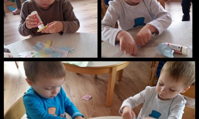 Zečići - likovna aktivnost, tema Ptice, komadanje i ljepljenje kolaž papira na podlogu, razvoj motorike i kreativnosti