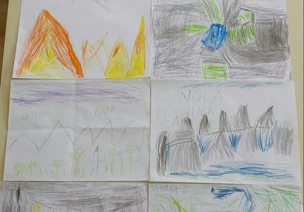 Ribice - likovna aktivnost s drvenim bojicama, tema Krajolici i okoliš, gledanje dokumentarnog filma i crtanje po predlošku, razvoj spoznaje i motorike, kreativnosti