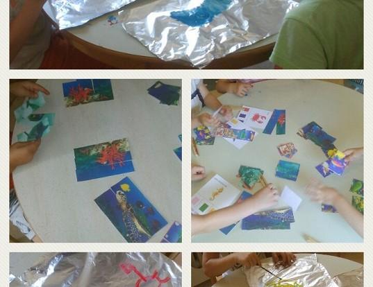 Ribice i Leptirići - tema Morske životinje, slikanje temperom po alufoliji, preslikavanje na papir, pridruživanje boja, razvoj kreativnosti, motorike i logičkog zaključivanja