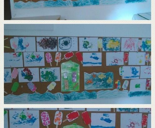 Ribice i Leptirići - zajedničko uređivanje panoa dječjim radovima na temu Život u moru i morske radosti