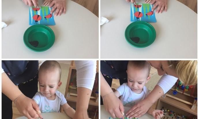 Bubamare - likovna aktivnost-otiskivanje prstića na bubamare od kolaža, izrada poklona za roditelje