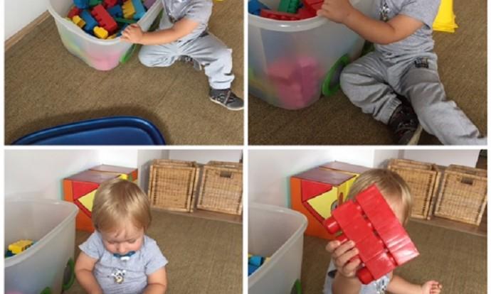Zečići - igra u centru građenja, slaganje tornja od kocaka, razvoj motorike i koncentracije