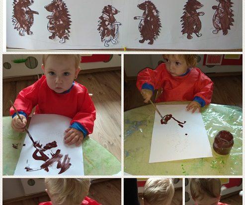 Bubamare - likovna aktivnost - izrada ježeva, razvoj kreativnosti, koncentracije i orijentacije na papiru