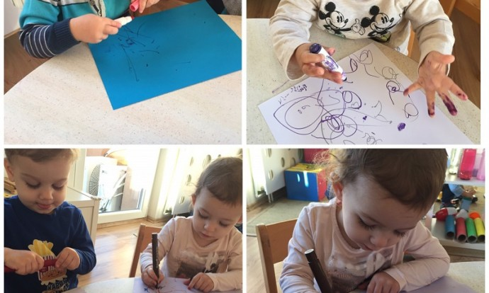 Zečići - likovna aktivnost, bojanje flomasterima, izrada malih kišobrana, poticanje kreativnosti, fine motorike i suradničkog učenja