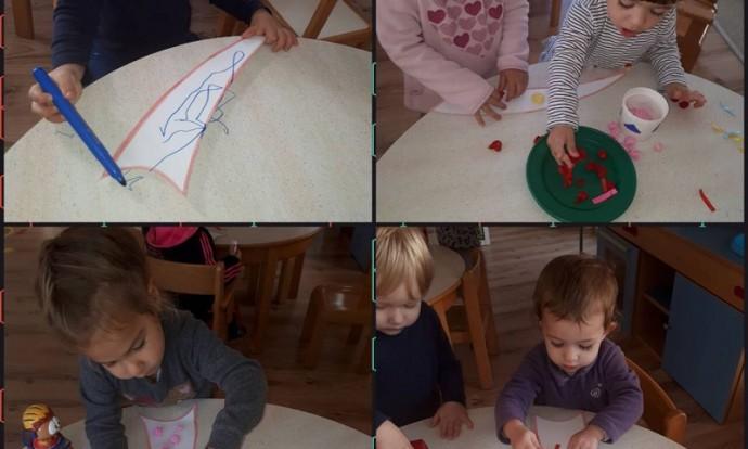 Zečići - likovna aktivnost raznim tehnikama (flomaster, krep papir, kolaž papir), izrada kišobrana, poticanje kreativnosti i fine motorike
