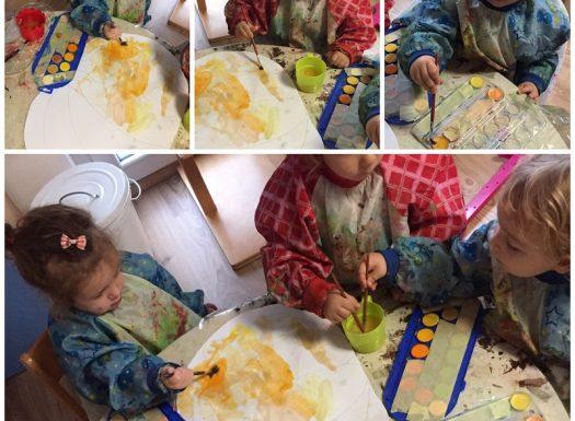 Zečići - likovna aktivnost raznim tehnikama (vodene boje, tempere, kolaž), bojanje bundeva, ljepljenje, razvoj kreativnosti, spretnosti i strpljenja