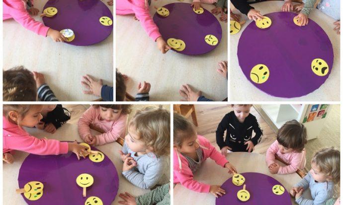 Zečići - igra s pločom s emocijama, prepoznavanje i imenovanje emocija, oponašanje mimike lica, razvoj zapažanja i uočavanje te poticanje suradnje i međusobnog pomaganja