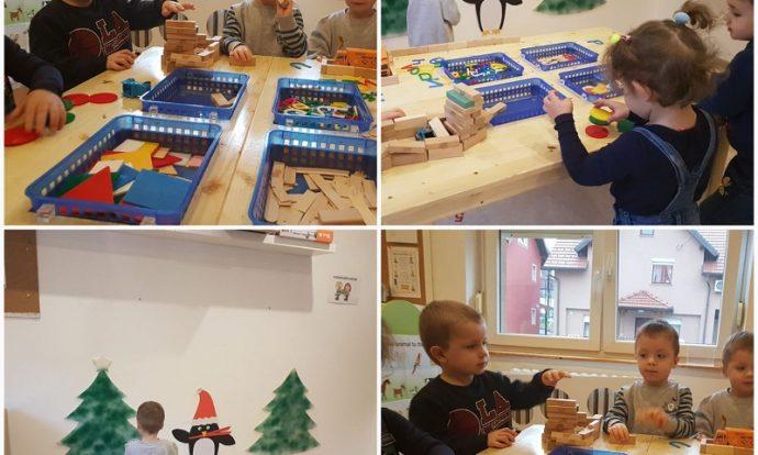 Leptirići - građevinski centar, gradnja garaže drvenim kockama, razvoj preciznosti, strpljivosti i koncentracije