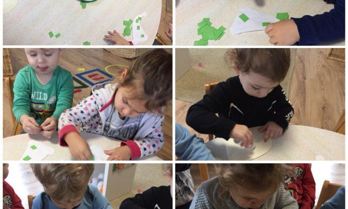 Zečići - likovna aktivnost, ljepljenje kolaža, izrada božićnih vilenjaka, razvoj fine motorike šake, poticanje kreativnosti