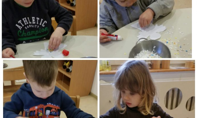 Leptirići - ukrašavanje anđela konfetama i umjetnim snijegom, razvoj preciznosti i fine motorike, poticanje strpljenja