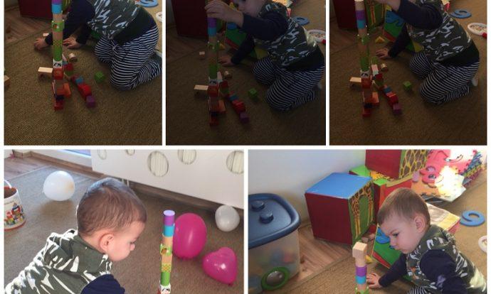 Zečići - igra u centru građenja, slaganje tornja od drvenih kockica, razvoj strpljivosti, preciznosti i koncentracije