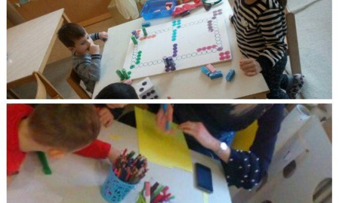 Ribice - društvena igra Čovječe ne ljuti se, likovna aktivnost - crtanje olovkom, tema Pahuljice, poticanje koncentracije, suradnje i razvoj mašte