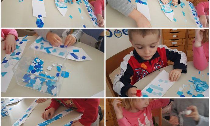 Leptirići - likovna aktivnost, ljepljenje i rezanje kolaž papira, tema Elsin dvorac, uočavanje razlike u bojama, svijetlo-tamno, razvoj fine motorike šake i kreativnosti