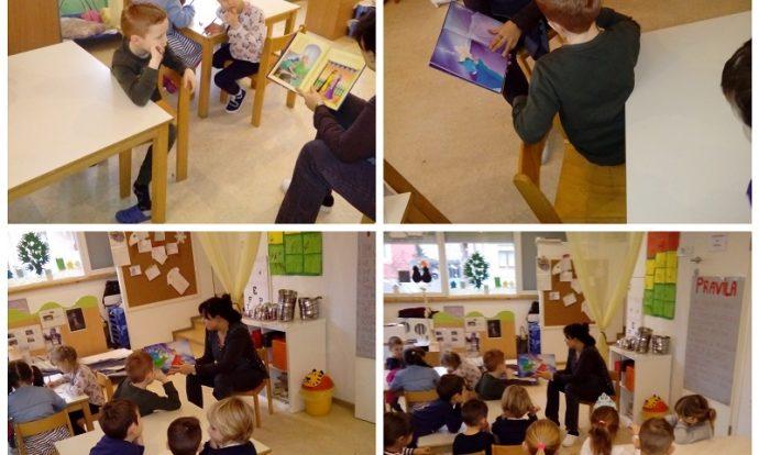 Ribice - čitanje slikovnice, postavljanje poticajnih pitanja, razvoj slušne percepcije