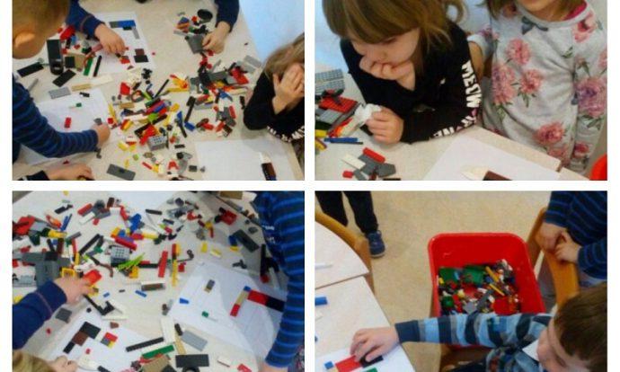 Ribice - projekt Lego kocke, slaganje prema zadanom modelu, usvajanje novih znanja o lego kockama, razvoj koncentracije, pažnje i uzajamnog pomaganja