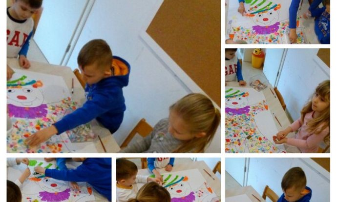 Ribice - likovna aktivnost, tema Maskenbal, izrada klauna od kolaž papira, rezanje i ljepljenje, razvoj fine motorike šake i kreativnosti