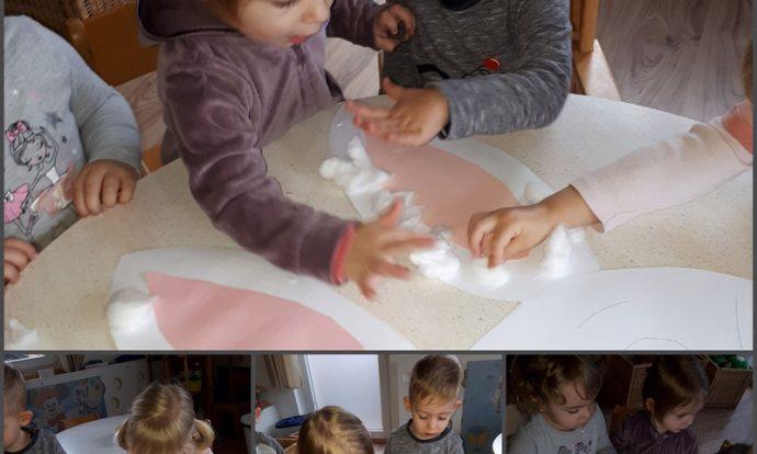 Zečići - likovna aktivnost, lijepljenje vate na zečića od kartona, razvoj fine motorike šake, razvoj preciznosti i strpljivosti
