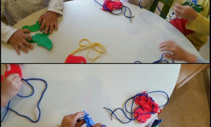 Leptirići - stolno - manipulativne aktivnosti, provlačenje špage, razvoj fine motorike, upornosti, preciznosti