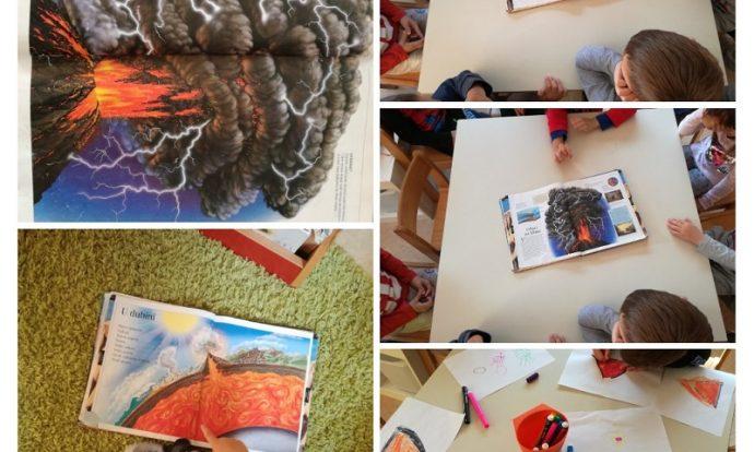 Ribice - proučavanje enciklopedije, istraživanje vulkana potaknuto trenutnim interesom djece, crtanje prema primjeru, spoznajni razvoj i razvoj grafomotorike