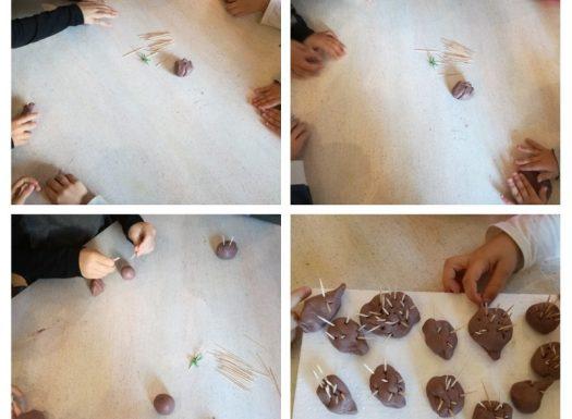 Ribice - likovno-kreativna aktivnost, izrada ježića prema priči Zimski kaputić maloga ježa pomoću plastelina i čačkalica, razvoj spoznaje i koordinacije oko-ruka
