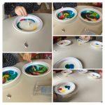 Frfići - mozgalići - pokus Duga u mlijeku, voda i boje, zajedničko donošenje zaključka, razvoj spoznaje, timski rad