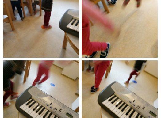 Ribice - Music game Guess a tone, skok na točku koja predstavlja odsvirani ton c, e, g, poticanje razvoja slušne osjetljivosti kroz igru