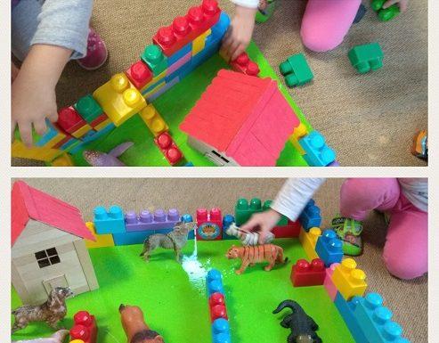 Zečići - slaganje farme u centru građenja, razvoj kreativnosti, fine motorike i suradničkog učenja