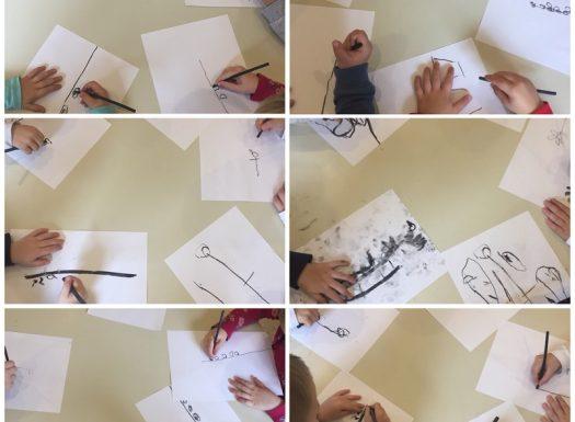 Leptirići - likovna aktivnost, crtanje dijelova biljke ugljenim štapićem, razvoj kreativnosti, fine motorike i koncentracije te usvajanje nove likovne tehnike