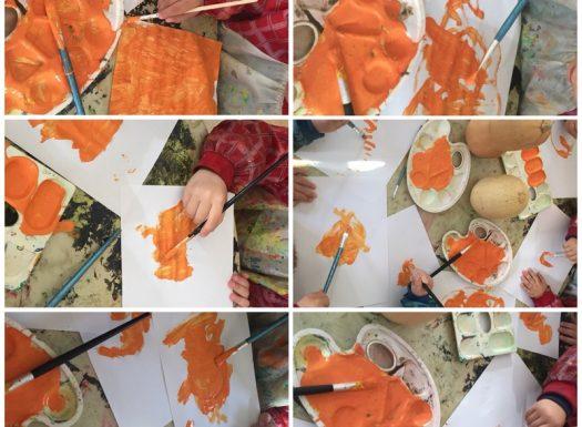 Leptirići - likovna aktivnost, slikanje bundeve temperom, razvoj kreativnosti i koncentracije te zapažanja detalja