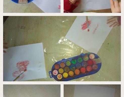 Zečići - likovna aktivnost na temu Lišće, preslikavanje parafinom i pastelama te oslikavanje akvarelom, razvoj fine motorike, vizualne i taktilne percepcije, kreativnosti