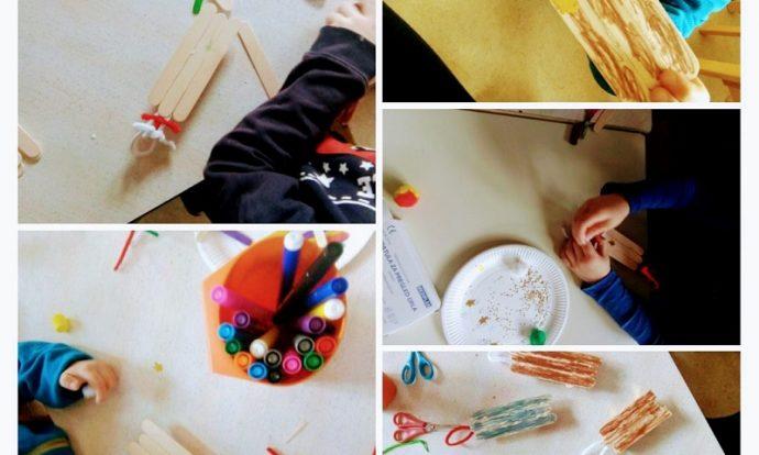 Ribice - kreativne aktivnosti, My sled, izrada i dekoriranje sanjki od drvenih štapića, razvoj mašte, kreativnosti i strpljivosti