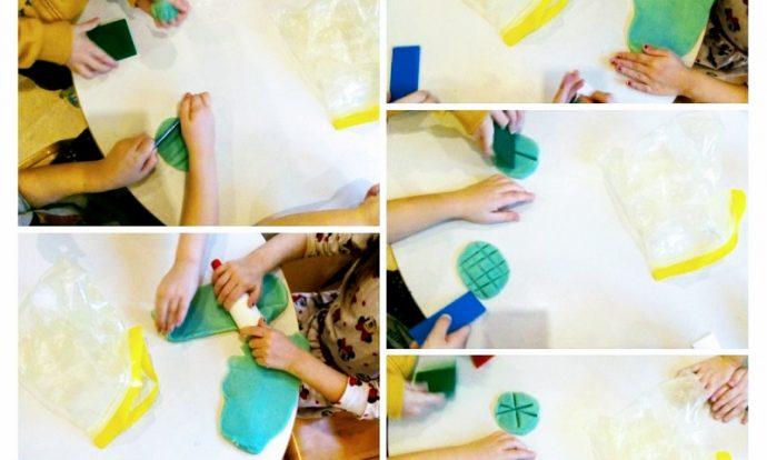 Ribice - modeliranje plastelinom, kulinarske igre s domaćim plastelinom, rezanje mesa, pravljenje kolača i pizze, razvoj mašte i kreativnosti te fine motorike prstiju i ruke