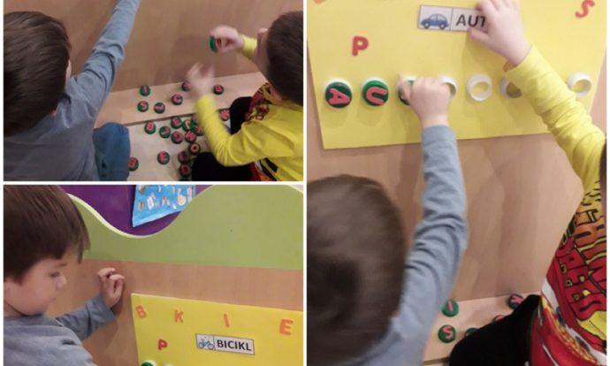 Leptirići - početno čitanje i pisanje, pronalaženje slova i stavljanje na određeno mjesto, razvoj logike, koncentracije
