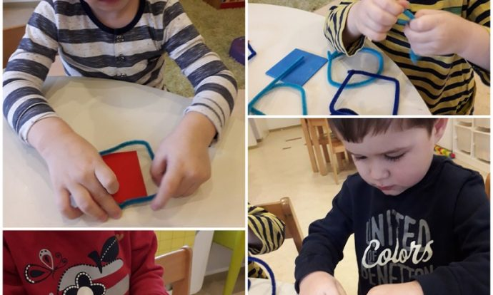 Leptirići - usvajanje geometrijskih likova, izrada od različitih materijala, izrezivanje od plastelina, oblikovanje od čupave žice, izrada od drvenih špatula, razvoj motorike šake i prstiju