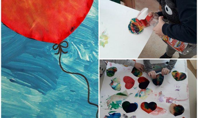 Leptirići - likovna aktivnost, bojanje filter papira flomasterom, špricanje vodom, bojanje temperom, tema Srca, razvoj kreativnosti, miješanje boja i uočavanje promjena