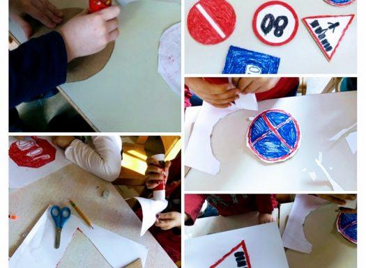 Ribice - Road (traffic) signs, izrada prometnih znakova od kartona, razvoj spoznaje, razvoj svijesti o sigurnosti u prometu te poticanje suradnje