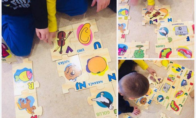 Leptirići - usvajanje abecede uz pomoć puzzli i pjesme Abeceda, poticanje na suradnju i zajedništvo