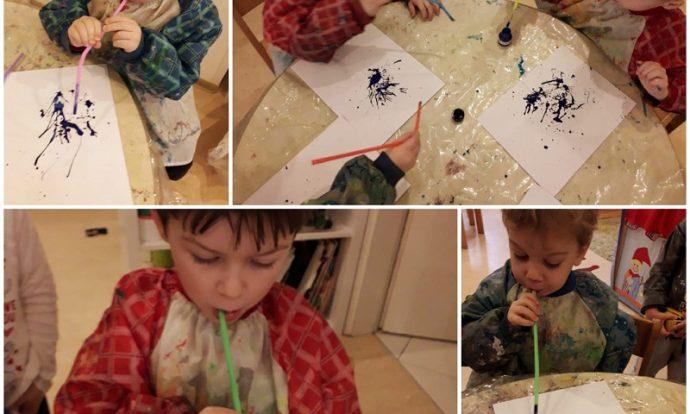 Leptirići - likovna aktivnost bojanje flomasterima i slikanje tušem u boji puhanjem kroz slamku, izrada čizmica za zimu, razvoj kreativnosti i strpljenja te usvajanje nove tehnike slikanja