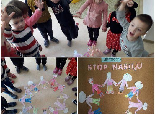Leptirići - likovna aktivnost, crtanje i izrezivanje, obilježavanje Dana ružičastih majica, razvoj kreativnosti, poticanje na zajedništvo i prijateljstvo