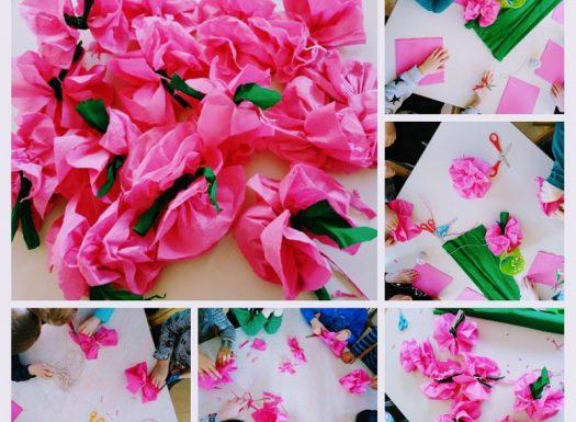 Ribice - izrada ruža od salveta i krep papira, poticaj na razvoj fine motorike i kreativnosti