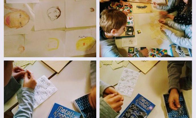 Frfići - mozgalići - Metall knobeli, poticanje razvoja vizualne percepcije, preciznosti; crtanje portreta - razvoj više područja, osjetilo vida ,motorika