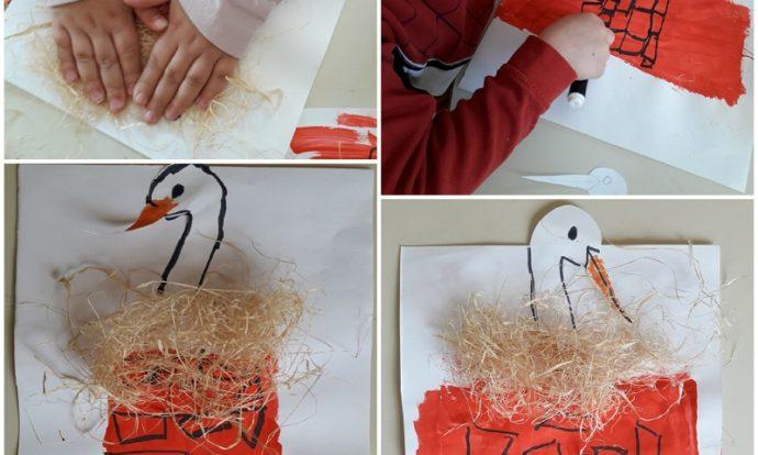 Leptirići - likovna aktivnost, tema Roda, slikanje temperom, lijepljenje gnijezda, izrezivanje i lijepljenje rode, razvoj kreativnosti, fine motorike