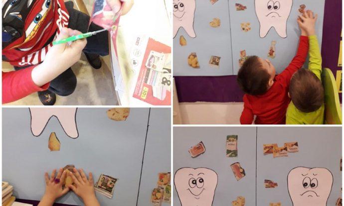 Leptirići - projekt Higijena, rezanje i lijepljenje namirnica iz letaka, izrada plakata sa sretnim i tužnim zubom, razvoj spoznaje i logičkog mišljenja