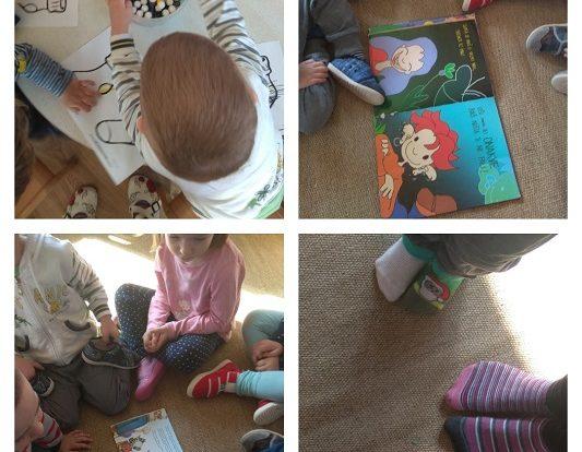 Zečići - obilježavanje Dana djece s Downovim sindromom kroz likovnu aktivnost bojanja čarapa, nošenje različitih čarapa te čitanja slikovnica, poticaj razvoja empatije, prihvaćanja različitosti